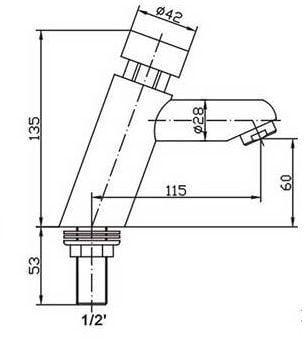 design drukraan met zelfsluitende spoeltijd